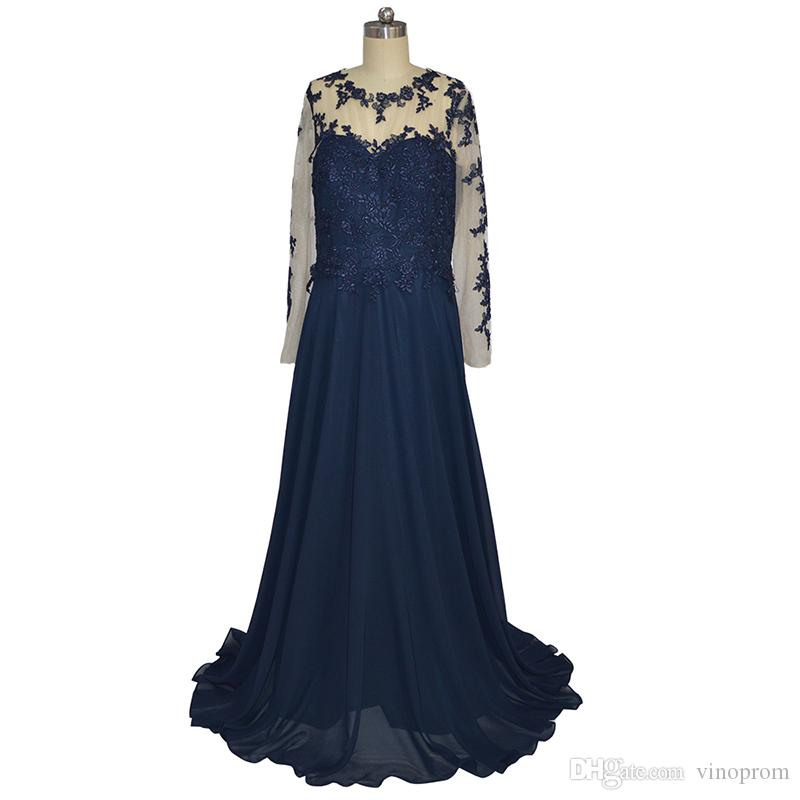 Vestiti Eleganti Donne 2018.Vestito Elegante Donna Lungo 2018 A Line Long Sleeves Blue Evening