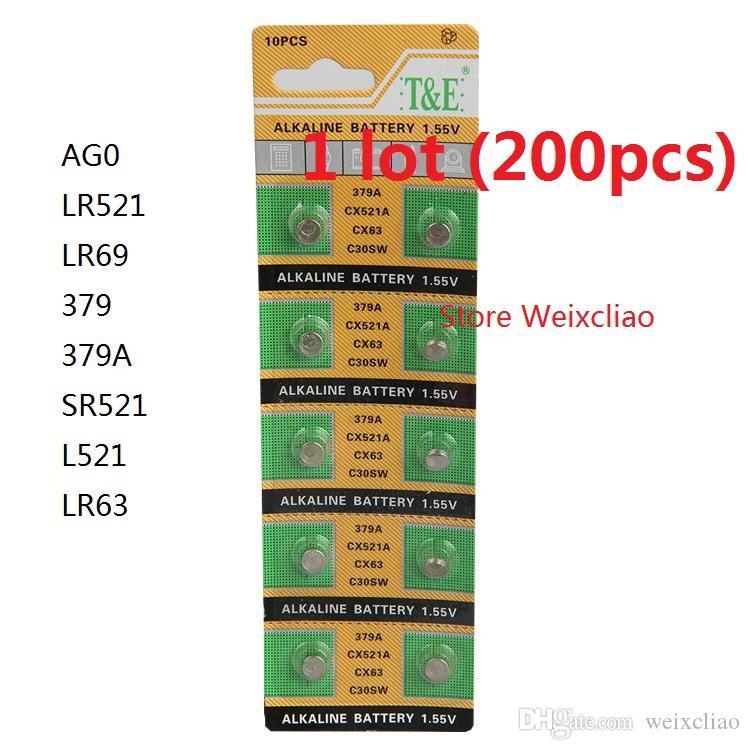 200 قطع 1 وحدة AG0 LR521 LR69 379 379A SR521 L521 LR63 1.55 فولت بطاريات زر خلية البطارية القلوية عملة شحن مجاني