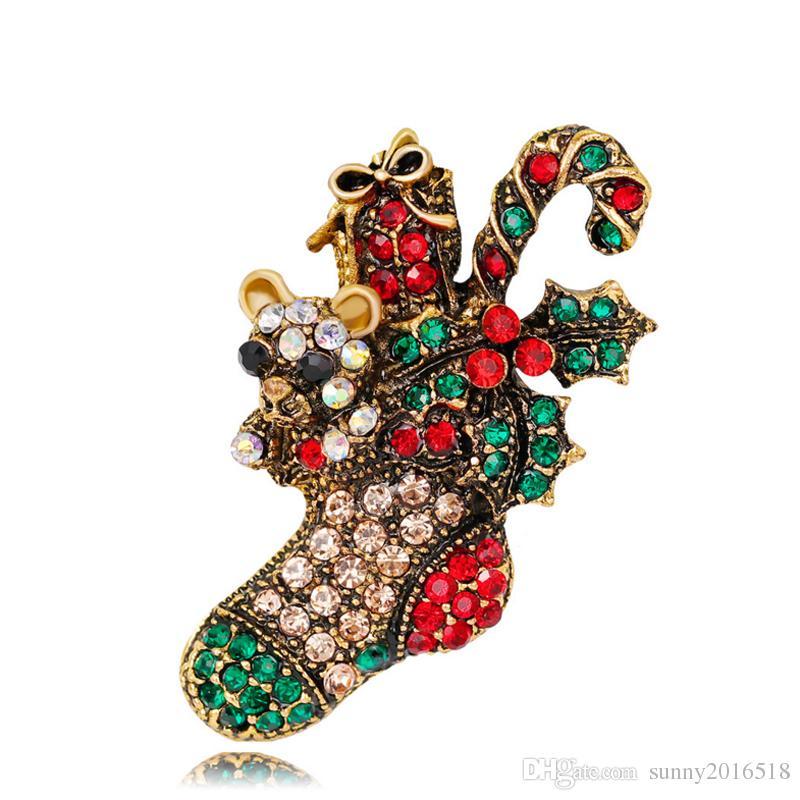 Nueva joyería de Navidad Multicolor de cristal Botas de Navidad Broches Antigüedad de aleación de oro Rhinestone Flores Broche Ramillete Pins regalos de Navidad