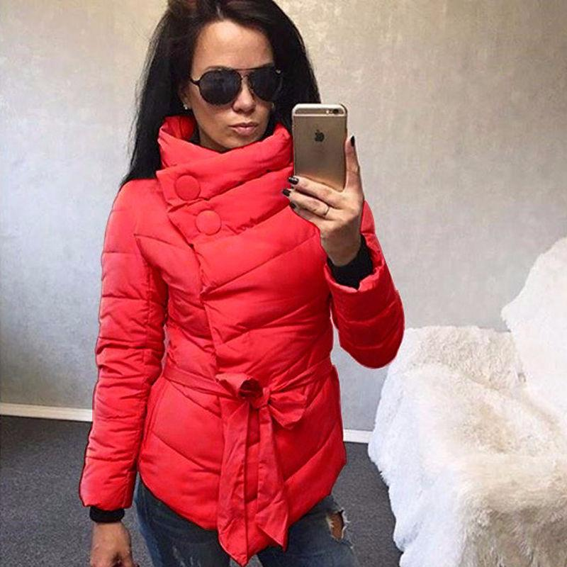 All'ingrosso-Casual Donna Parka invernale Giacca a maniche lunghe in cotone imbottito giacca irregolare con cintura giacca invernale donna calda cappotti