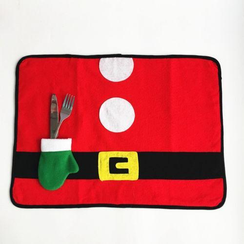 Al por mayor- Nueva Llegada Conjunto de Mesa Creativa Navidad Santa Claus Costume Table Placemat Mats Decor