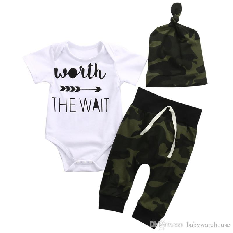 Newborn Baby Boy Clothes Set Short Sleeve Arrow Romper + Camouflage Long Pants + Hat 3PCS Boys Outfits Infant Clothes Kids Clothing Set Boy