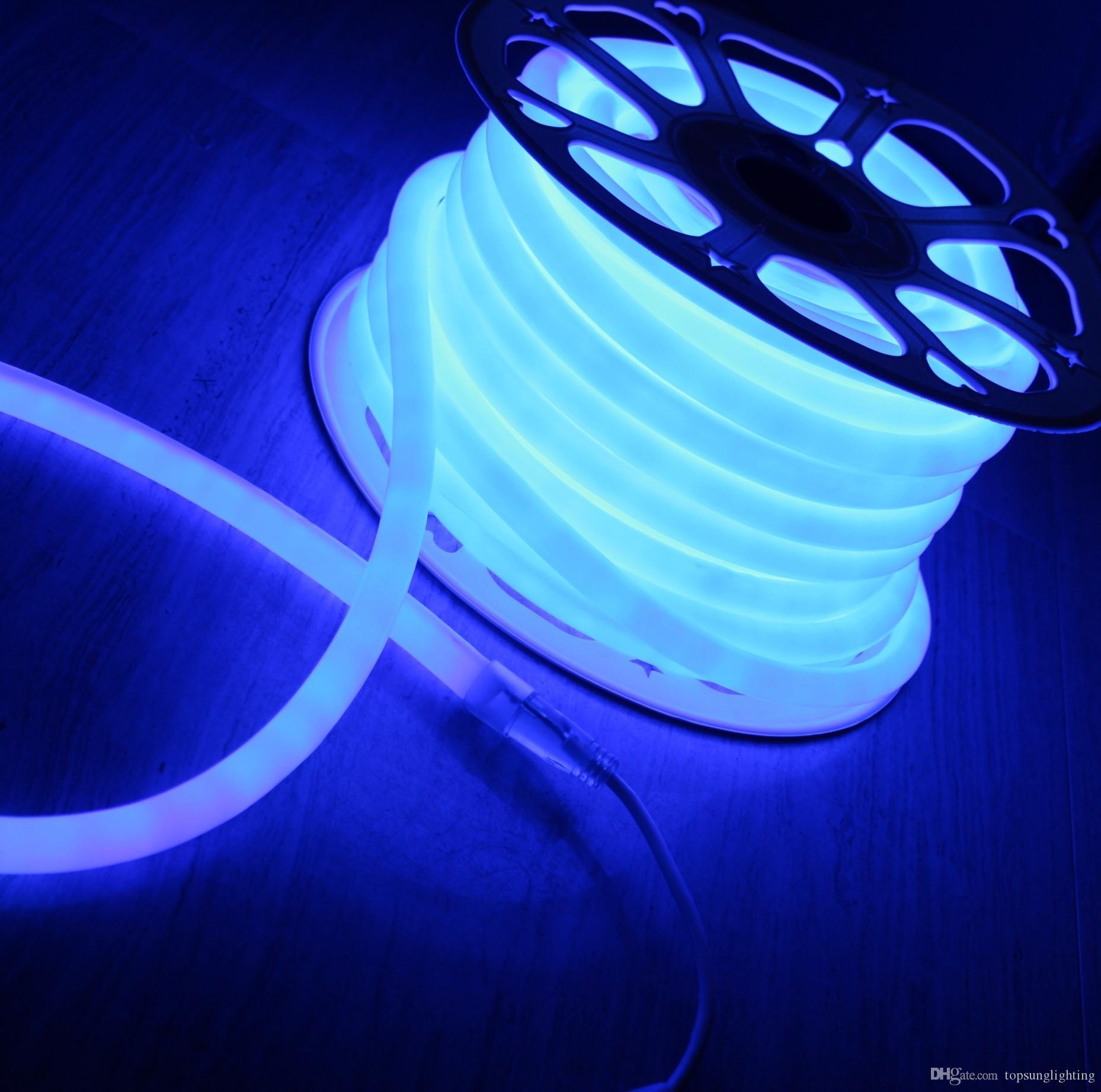 Incredibile luminoso flessibile rotondo 16mm flessibile striscia morbida 110V 220V 2835SMD blu multi tensione 12V 24V 20m mini neon
