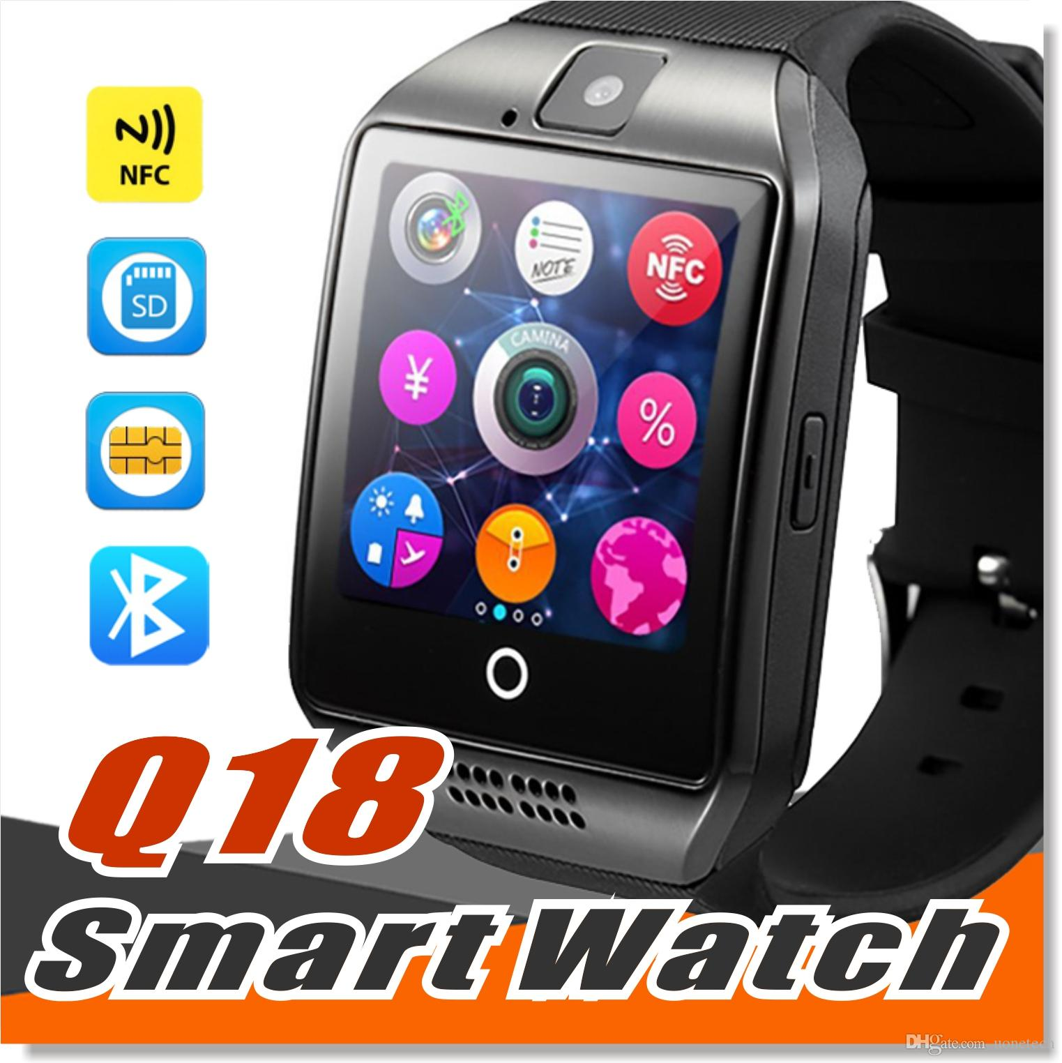 Q18 smart watches for Android phones Bluetooth Smartwatch with Camera Q18 Support Tf sim Card Slot Bluetooth NFC Connection