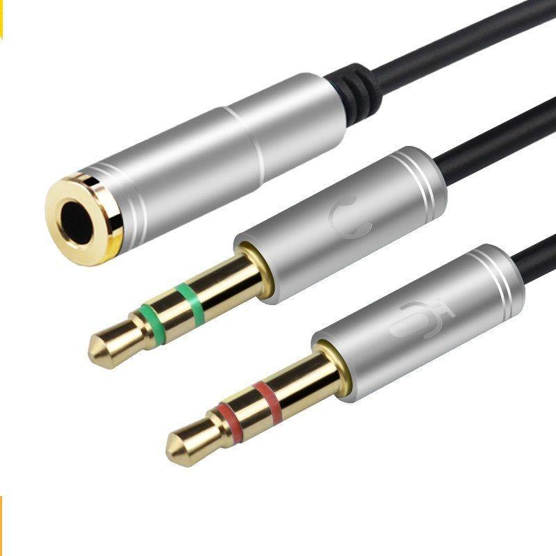 Adaptador de metal AUX 3.5mm Adaptador de auriculares de micrófono de computadora 1 Conector macho de 2 auriculares a hembra para micrófono + enchufe para auriculares Amplíe el cable de audio AUX 100p