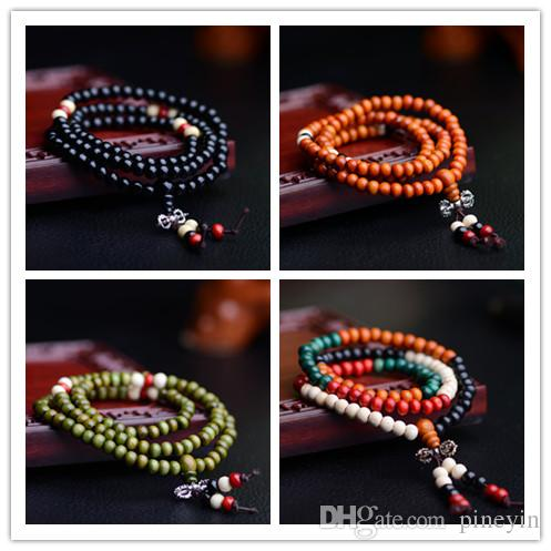 108 * 0.6 Natural Prayer Beads Tibetan Buddhist Bracelets Mala Buddha Rosary Necklace Wooden Jewelry NE644