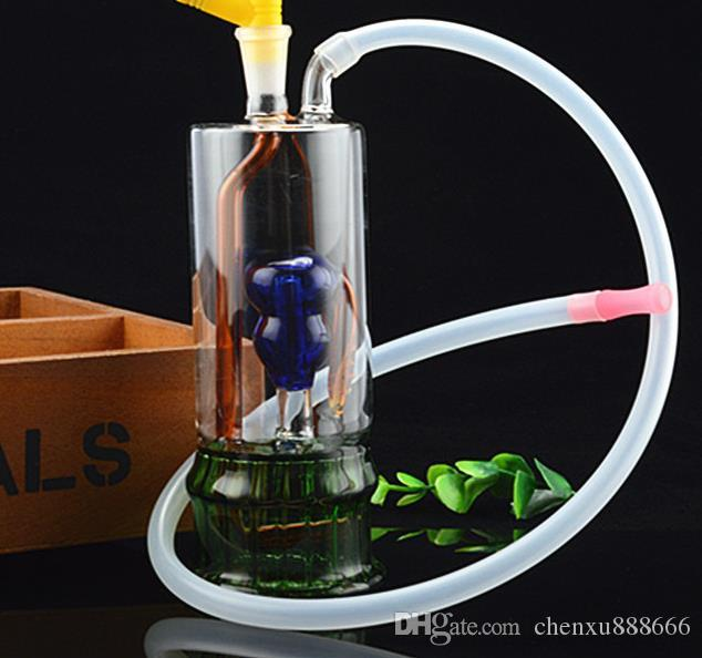 Çift katmanlı su filtre borusu su borusu, pot aksesuarları göndermek, cam bong, cam su borusu, sigara, renk stili rastgele teslim