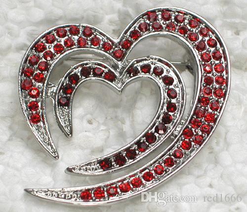Broche en gros de mode broche strass coeur C101136
