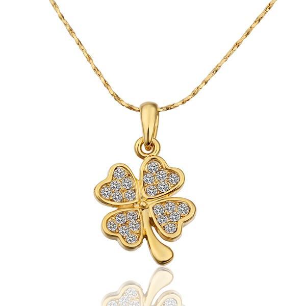 7b4eb008e9748 Wholesale Heart Clover Pendant New 24K Gold Plated Necklace Women Zirconia  Pendants Pendulum Cameo Bijouterie Pingente Indian Costume Red Pendant ...