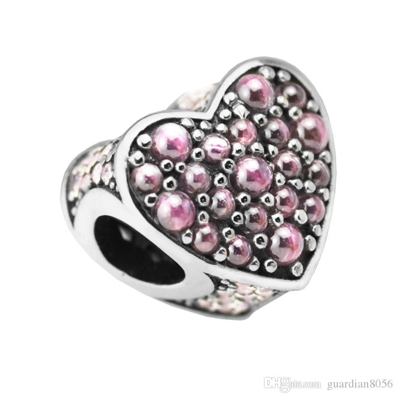 Sterling-Silver-Jewelry Beads For jewelry Making DIY Pink Dazzling Heart PerLas Charms BerLoQue Perles Thank You BEAD BoncUk