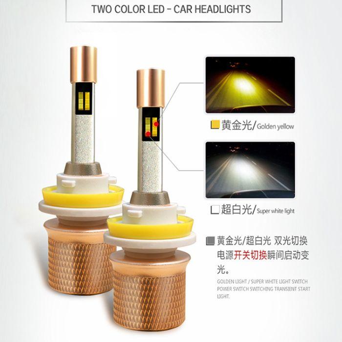 45 W 5000LM Çift Renkli Araba LED Farlar H4 H1 H7 H3 H11 9005 9006 9012 880 881 Far LED Ampuller Değiştirme