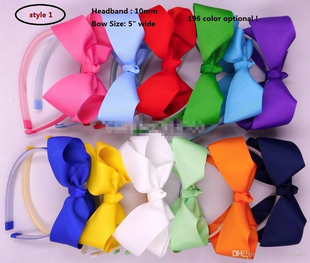 Gezahnte Haar-Reifen-Gewebe-Stirnband 10mm Kunststoff-Stirnbänder mit Bogen-Haar-Reifen-Mode-Band-Haarband-Mädchen-Headwear-Haarschmuck 20pcs