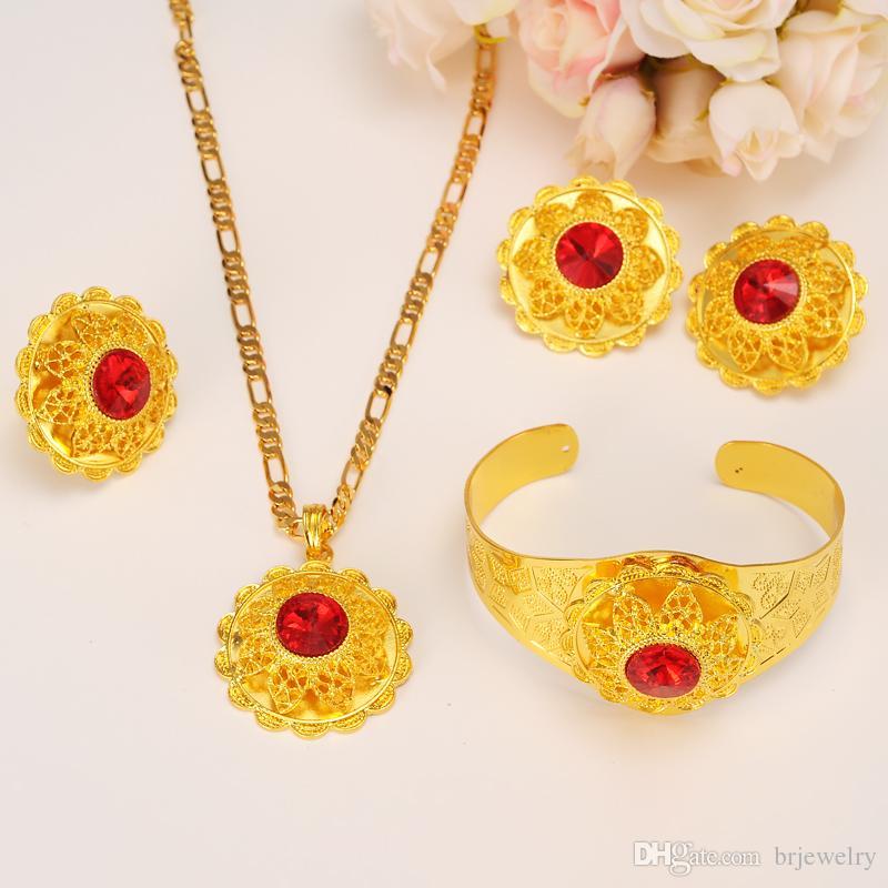 Bigcrystal Bridal Wedding joyería de oro conjunto collar / pieza de pelo / brazalete / Hair Pin / pendientes / anillo Eritrea Habesha africano