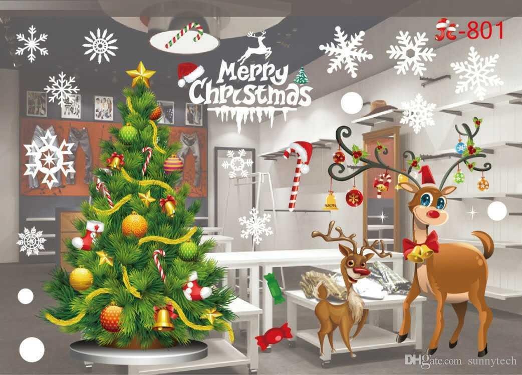 Christmas Wall Decals Removable.Diy Merry Christmas Wall Stickers Decoration Santa Claus Gifts Tree Window Wall Stickers Removable Vinyl Wall Decals Xmas Decor Kids Wall Decal Kids