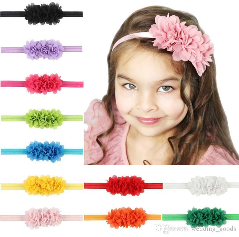 Il migliore regalo Nuovi capelli del bambino con i fiori chiffoni testa della cinghia dei capelli del bambino con i puntelli TG111 mescolano l'ordine 30 pezzi molto