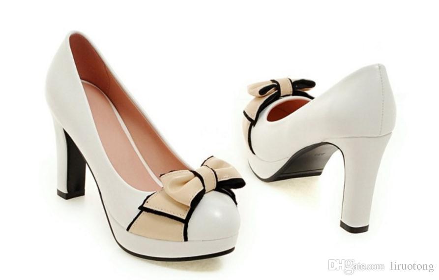 New age tacchi alti dolce bowknot singolo spesso con scarpe femminili vernice impermeabile scarpe da lavoro grandi cantieri