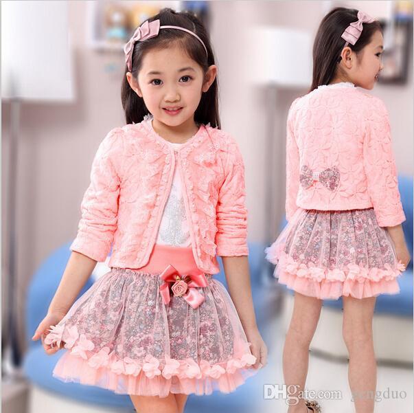 2017 moda bambini abbigliamento per bambini fiore abiti imposta ragazza 3 pezzo principessa pizzo ruffle cardigan top tuTu gonne vestiti