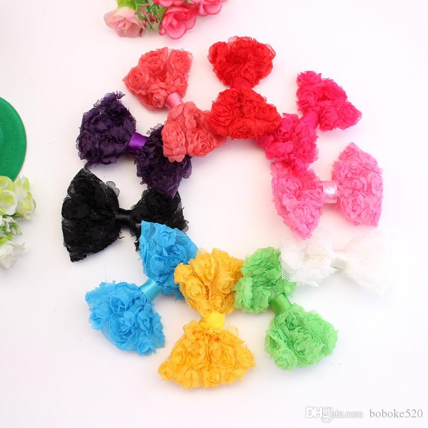 """50pcs/lot 3.2"""" baby Rosette Bows WITHOUT CLIPS Chiffon hairbows DIY baby girls hair accessories bows for headband"""