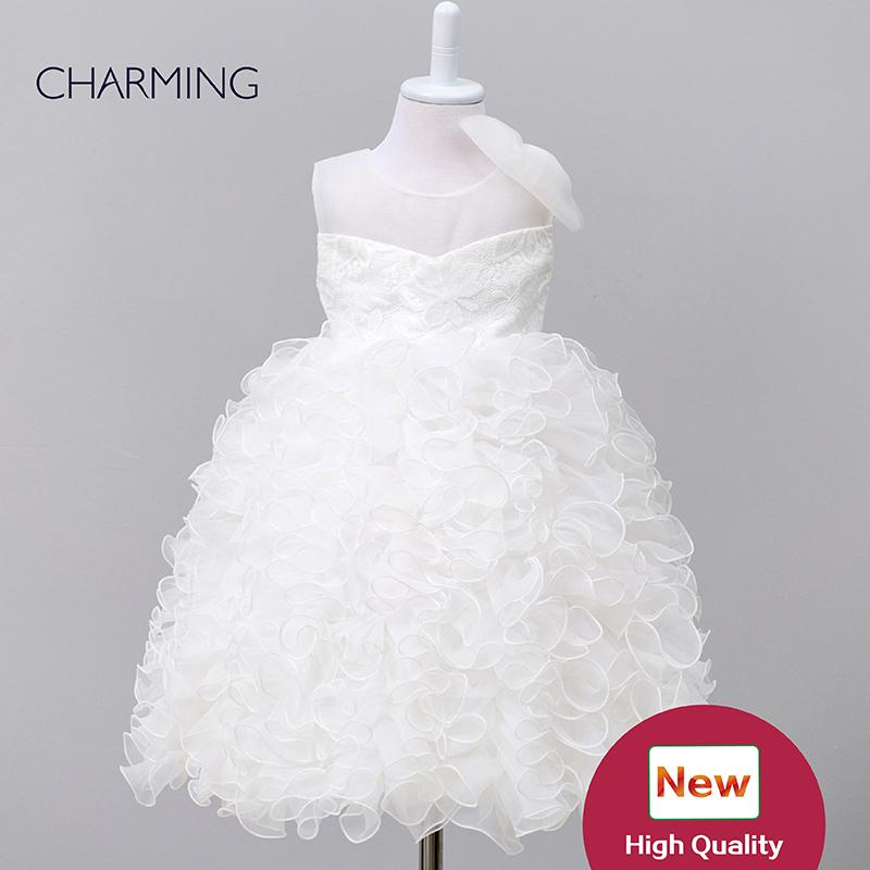 robes blanches pour les tout-petits fille robes de créateurs de concours Tutu pageant modélisation col rond style pailleté tissus organza manches