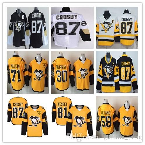 Stadium Series 2017 Pittsburgh Penguins Hockey Jerseys 87 Sidney Crosby 30 Matt Murray 58 Kris Letang 71 Evgeni Malkin Jersey Yellow Black