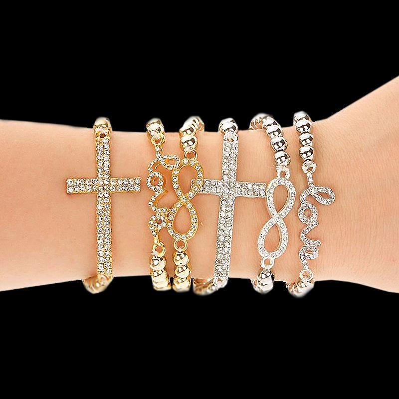 Klassisches Liebes-Kreuz-Unendlichkeits-Charme-Armband-Frauen-Art- und Weiseart-Goldrhinestone-Liebes-Armband-Manschetten-Armband