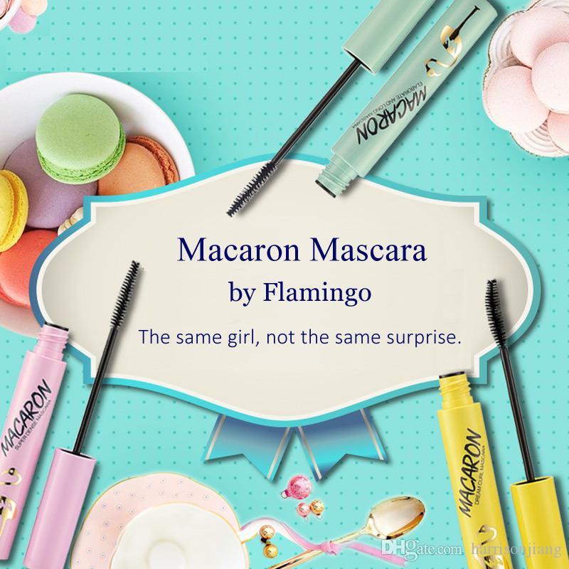 Flamingo macaron mascara unico progettato nero impermeabile curling allungamento mascaras professionale trucco per occhi di marca di alta qualità