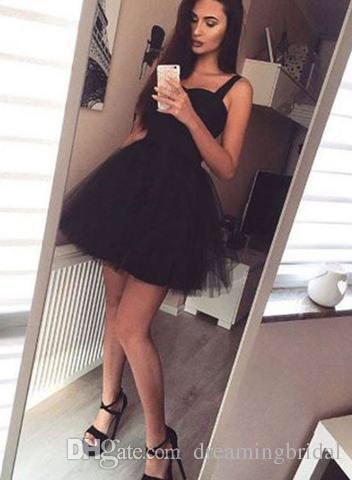 Spaghetti Straps Short Homecoming Dresses Sweetheart Sleeveless Little Black modest Prom Party Dresses For Gown Sweet 16 Dresses