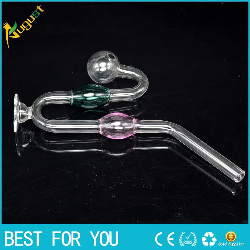 Geschwungene Glasrohr Ball Smoking Griff Rohre Gebogene Mini Rauchpfeifen Hand durchgebranntes Recycler Top-Öl-Brenner 1 Stück zu verkaufen