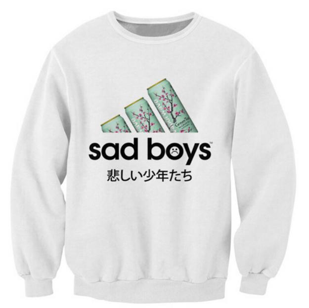 2019 Yeni Sad Boys Kazak Favori Yeşil Çay Çılgın Terlemeleri Kadın Erkek Japon Karakterler Jumper Moda Casual Kazaklar S --- 5XL B2