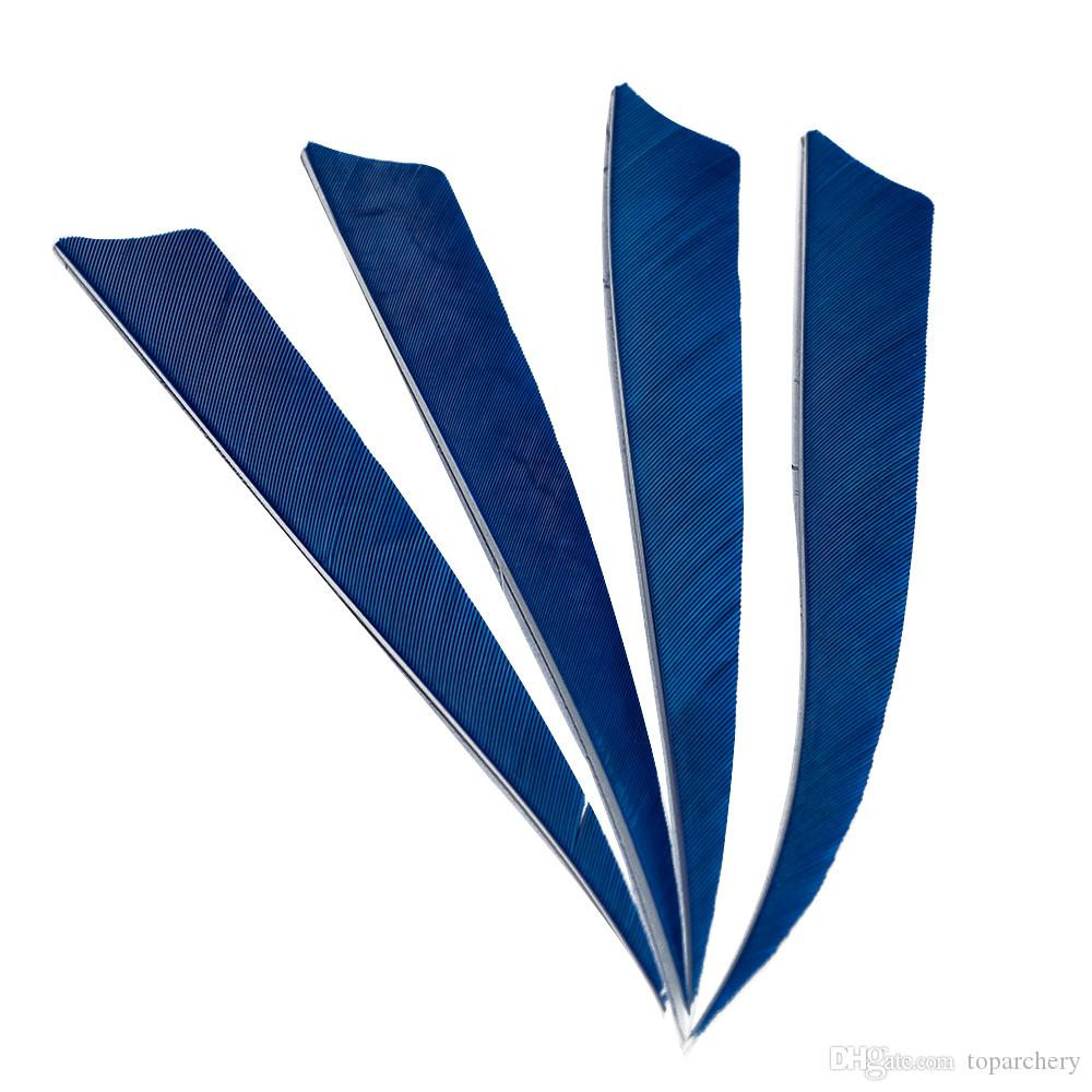 50pcs 5 '' plumes de l'aile droite pour les flèches de bois de bambou en fibre de verre tir à l'arc flèches de chasse et de tir bleu