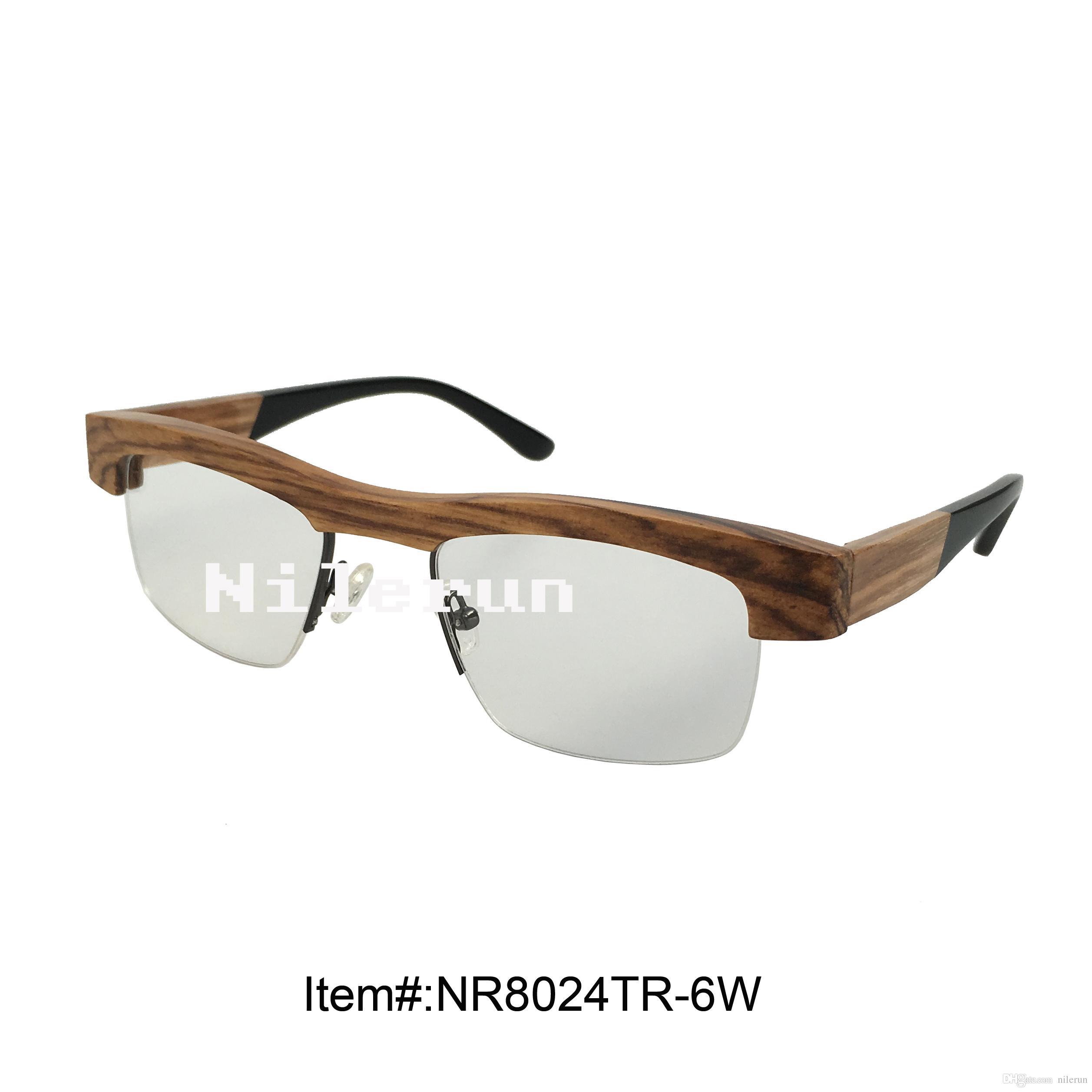 moda zebra ahşap yarı-jant optik gözlük çerçevesi