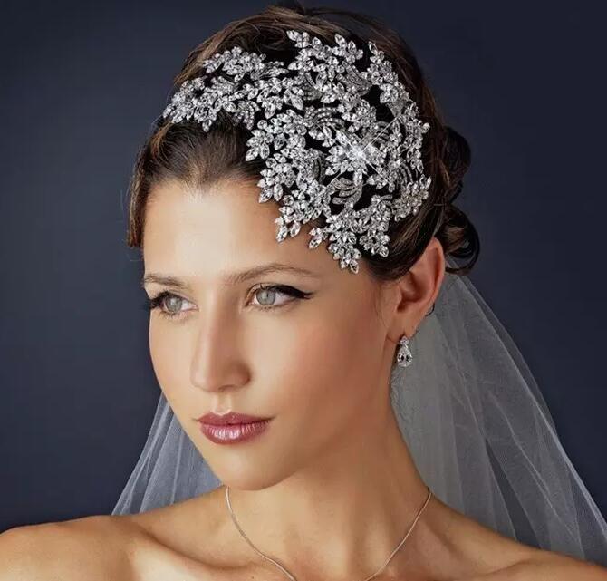 Cheap Shinny Hair Accessories For Weddings Silver Luxurious