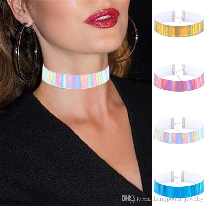 laser pelle luce fluorescente collana di modo maxi laser collare punk donne collana girocollo gioielli hip hop nave gioielli goccia Semplice