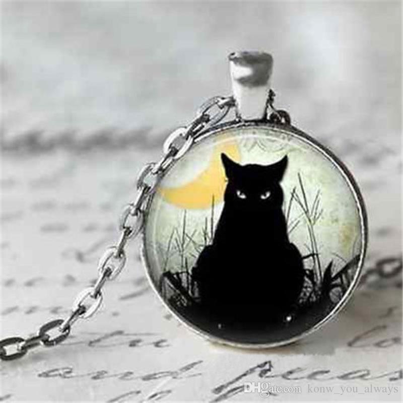 Gioielli vintage in argento placcato con vetro cabochon nero modello gatto collana lunga ciondolo choker per le donne regalo