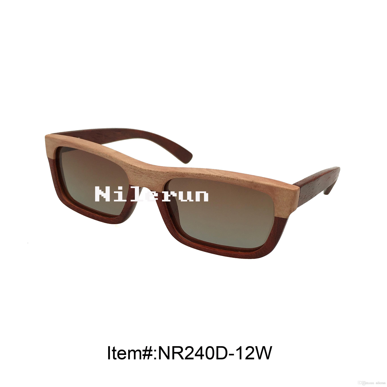hochwertige rechteckige zweifarbige massivholzsonnenbrille