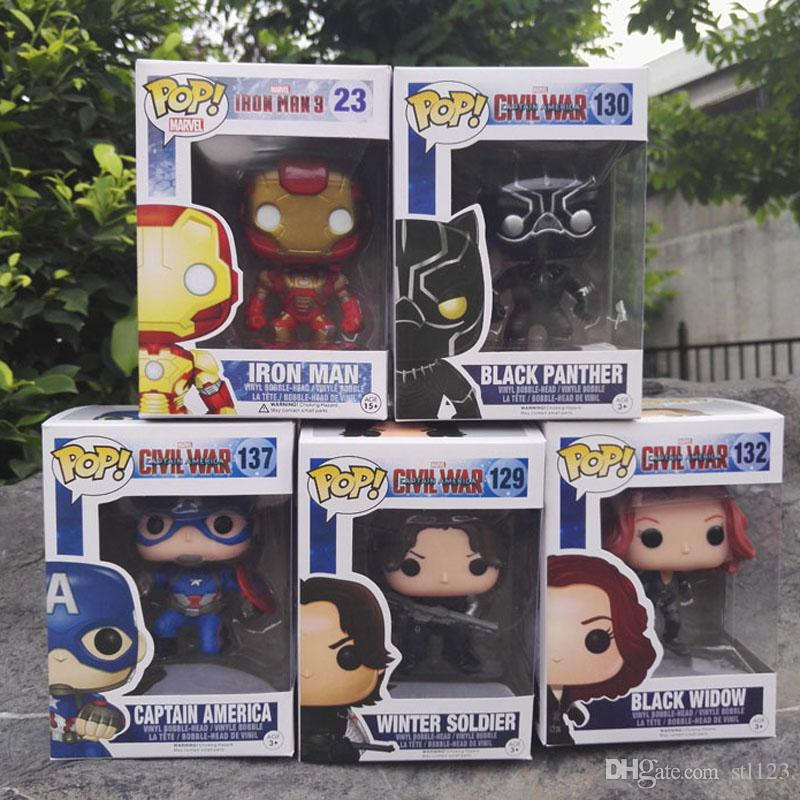 Captain America 3 Civil War Black Window Iron Man Winter Soldier Avengers 10CM PVC Figure Collection Toy Doll for kids
