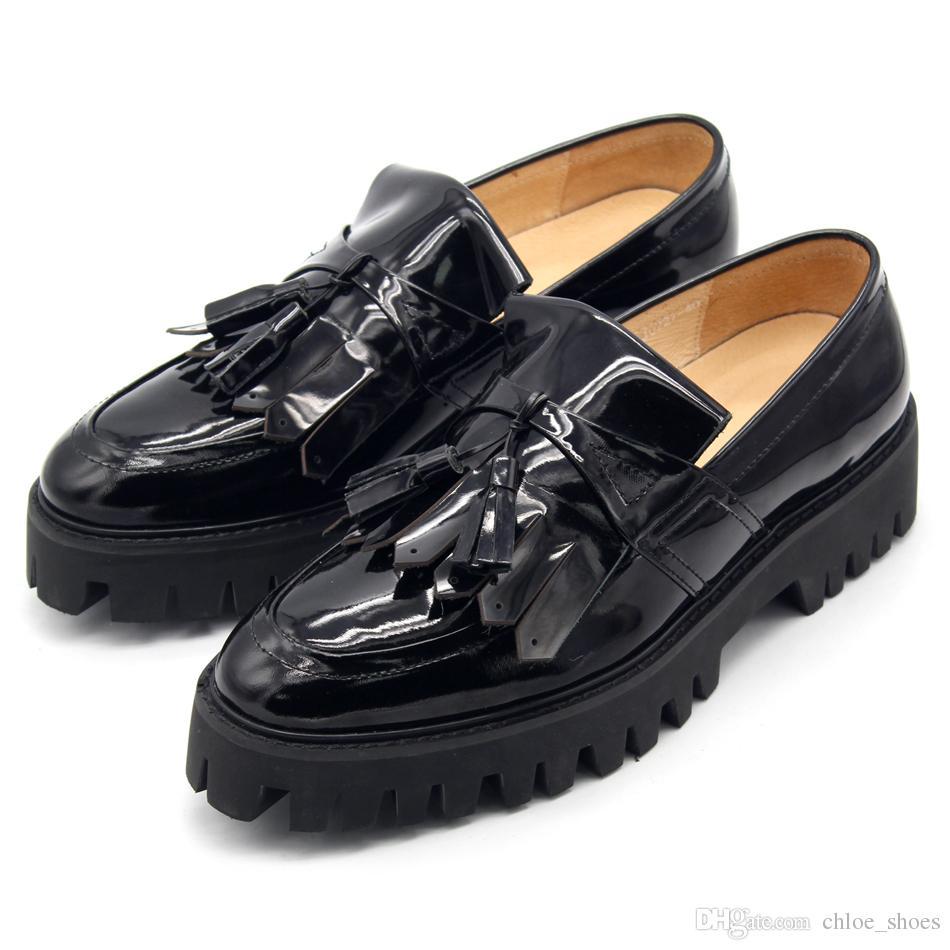 moda caliente colección completa mejor proveedor Compre Borla Borla Mocasines De Charol Negro Hombre Zapatos Plataforma Slip  En Barcos Zapato Suelto Hombre Zapatillas Tamaño Euro 45 Transpirable A ...