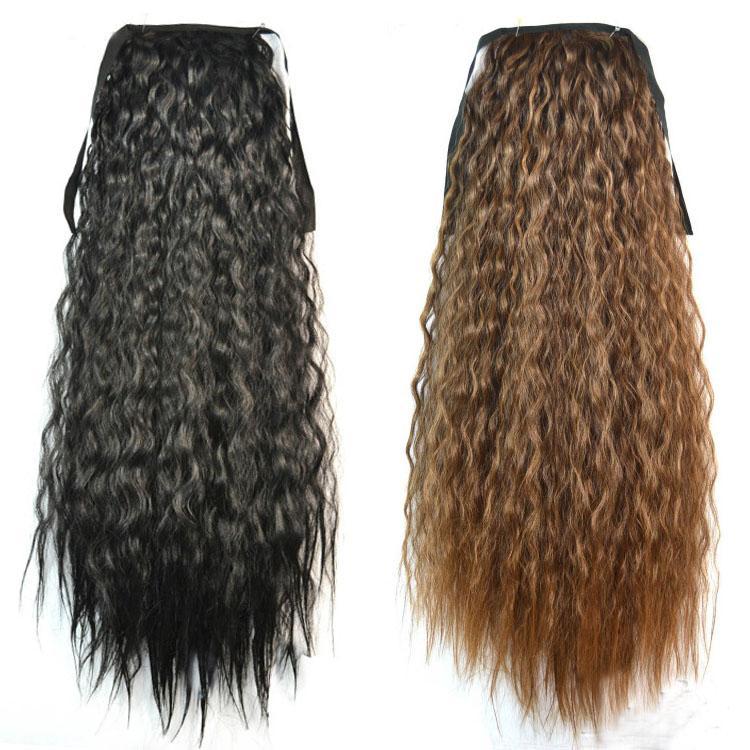 Venta al por mayor-Mujeres de la mujer Extensiones de cabello de cola de caballo Negro Marrón Rubio Largo Curly Ponytail Pelo sintético Pony Tail Extensión Hairpiece ondulado