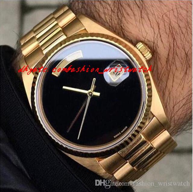 الرجال الفاخرة ووتش حركة أوتوماتيكي كبير أسود الوجه ميكانيكا ساعات رجالية الياقوت الأصلي 18 كيلو الذهب المقاوم للصدأ المشبك رجل ساعة 36 ملليمتر