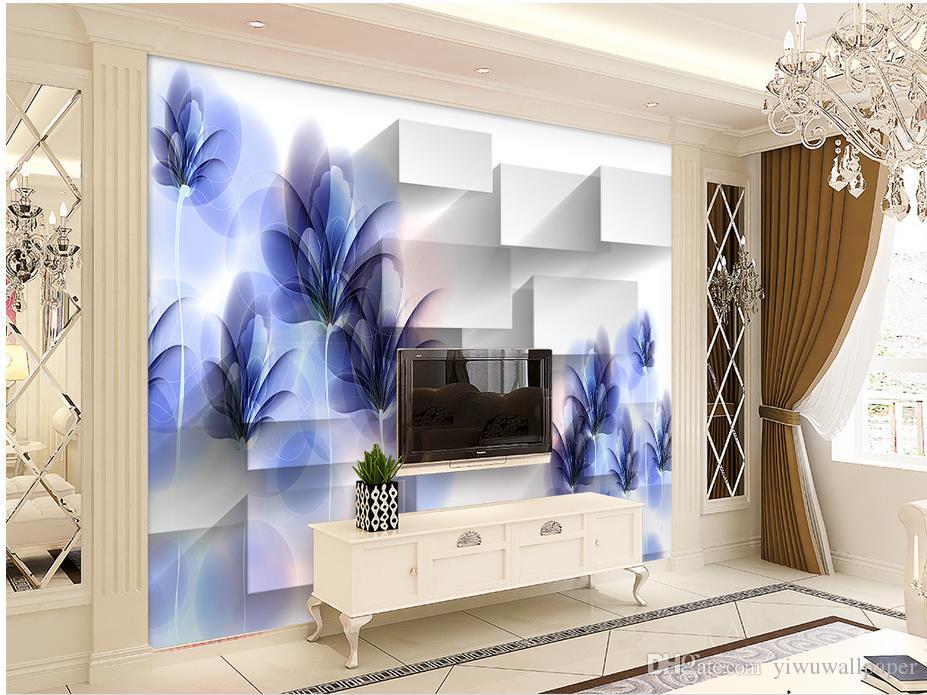 Neue benutzerdefinierte 3D schöne Fantasie transparent lila handgemachte Blume 3D Square Wallpaper für Wände 3 d für Wohnzimmer