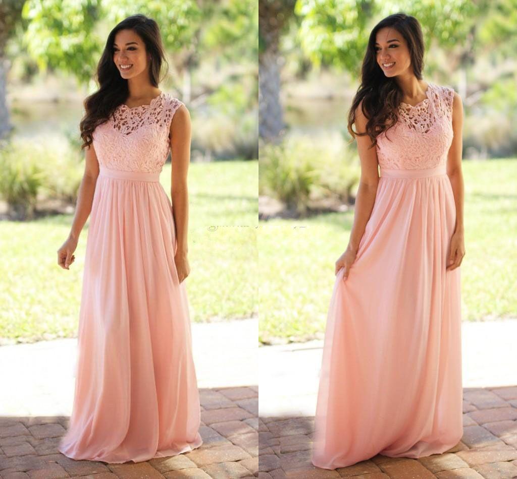 Vestidos de dama de honor largos de la gasa de encaje rosado 2021 Vestidos baratos de dama de honor a la medida de la jamonesa hechos a través de la mirada a través de la espalda azul gris dama de honor