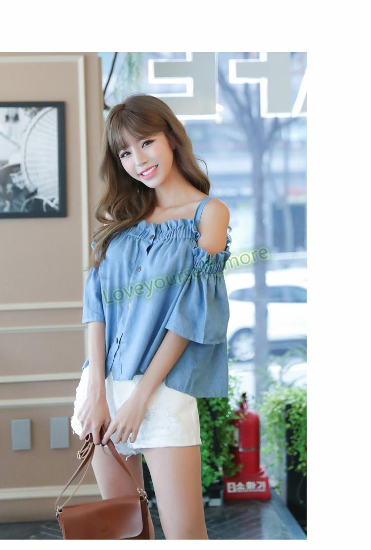 Wholesale 2017 Summer Women Casual Cold Shoulder Ruffles Blouse ...