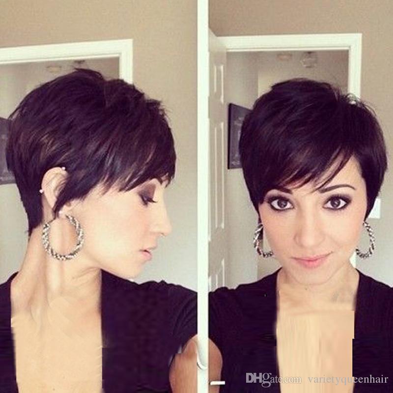 Grade 6A glueless Kappenperücke Pixie schnitt brasilianische reine Haarperücke für schwarze Frauen der Art und Weise