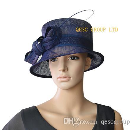 Élégante petite église ras bord Sinamay Chapeau avec dos d'autruche pour le mariage, le Kentucky Derby, courses, fête, Ascot