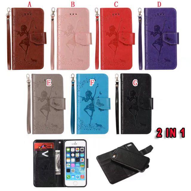 Strap 2 in 1 Leather Wallet della cassa del sacchetto per IPhone 8 7 PLUS SE 5 5S 6S 6 Huawei P10 P8 LITE 2017 Y5 Y6 II TPU Uccello basamento della ragazza copertina magnetica