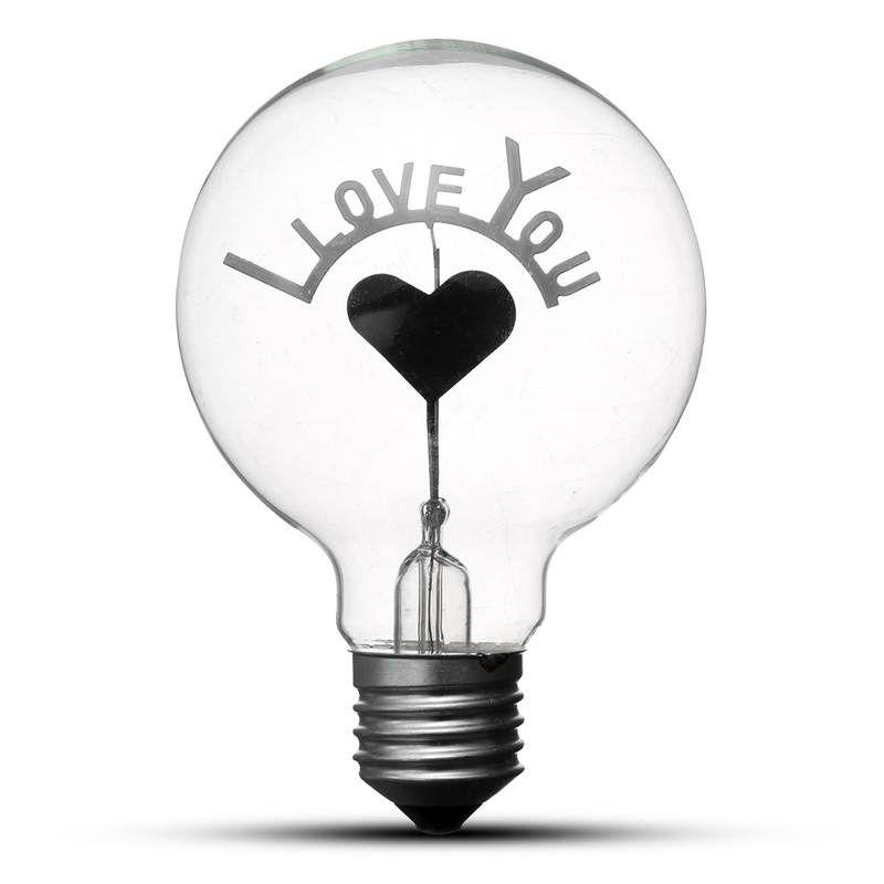 Vintage Edison Lâmpada Lâmpada E27 G80 Retro Incandescente Lâmpadas Eu Te Amo Coração Forma Art Decor Lamp Iluminação AC220V