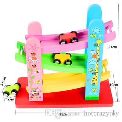 Candywood Baby Kids Wooden Ladder Intelligence Gliding Car Wooden slot Track Car Toys Educational Model to Slide toy for children boy gifts