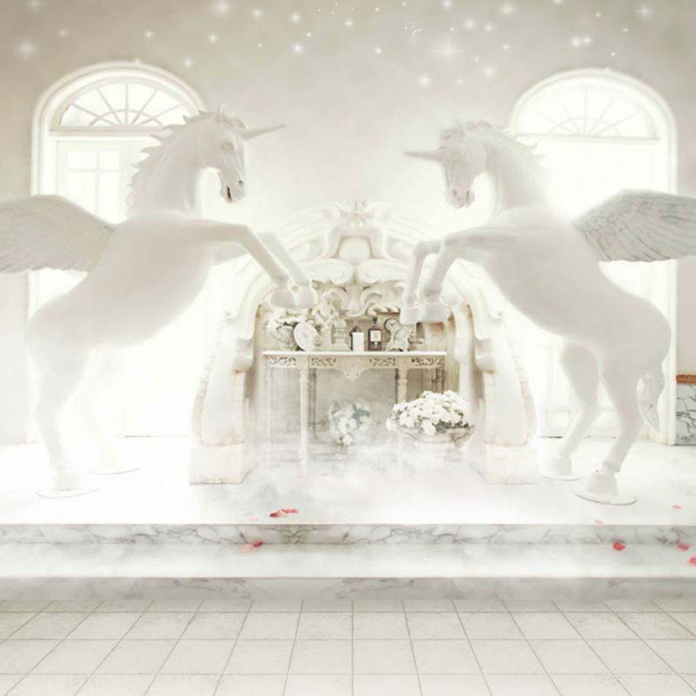 밝은 창 실내 유니콘 배경 사진 Bokeh 폴카 도트 화이트 판타지 웨딩 파티 사진 배경 10x10ft