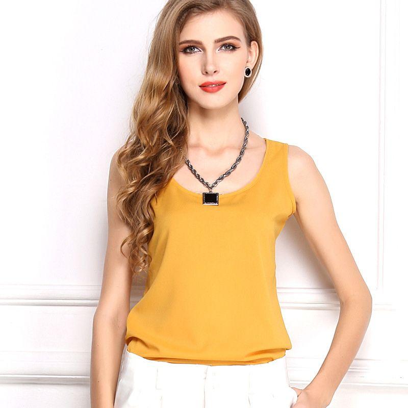 Summer women plus size crop tops clothes blouses candy colors chiffon loose t shirt crop top chiffon vest basic tank tops women wholesale