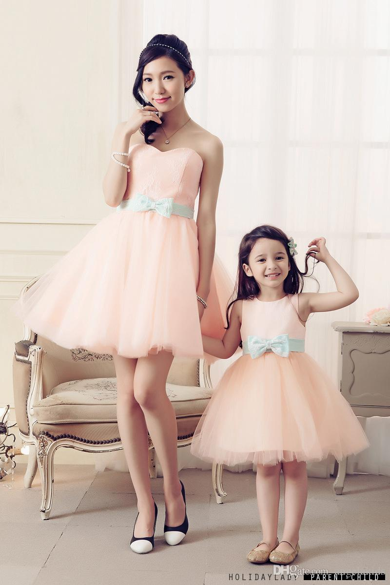 Family Clothes Mother Daughte 2016 Sparkly Beaded 2016 Family Style Mother and Daughter Matching Clothes Short Party Dresses Mini Skirt